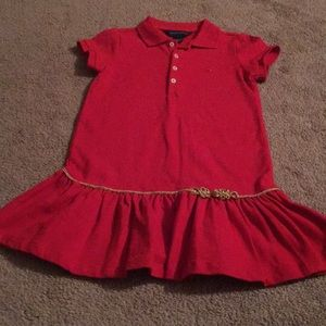 Red, polo dress, size 5, never worn